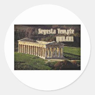 Templo de Segesta Pegatina Redonda