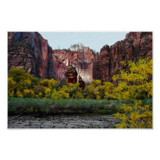 Templo de Sinawava, Zion en Utah, 12x8 Póster