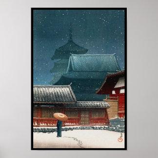 Templo de Tennô-ji en hanga de la espinilla del ka Poster