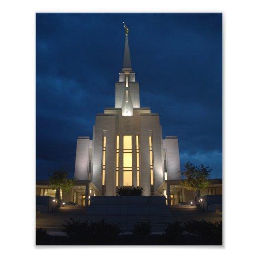 Templo de Utah LDS (mormón) de la montaña de Oquir Impresiones Fotograficas