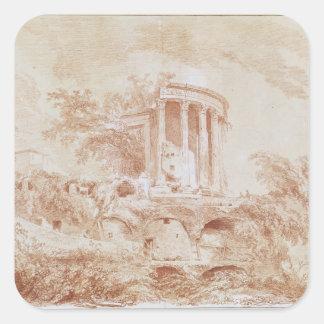 Templo del Sybil en Tivoli Pegatina Cuadradas