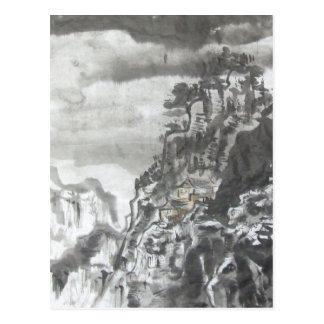 Templo del Taoist en la postal de la tormenta