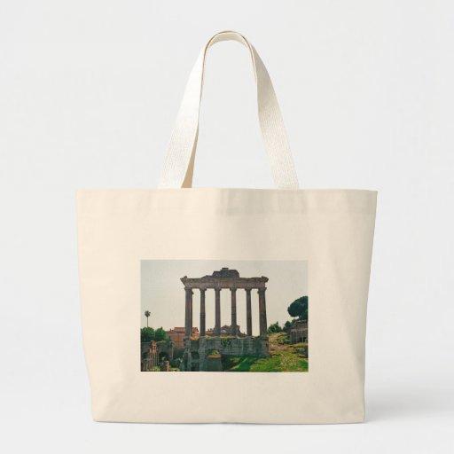 Templo en el foro romano bolsa tela grande