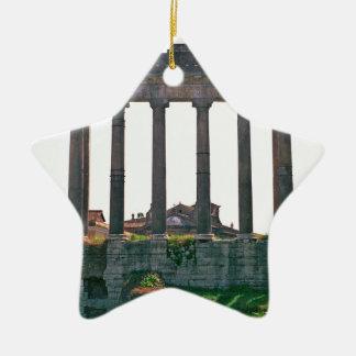 Templo en el foro romano adorno de navidad