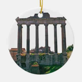Templo en el foro romano ornamento de navidad