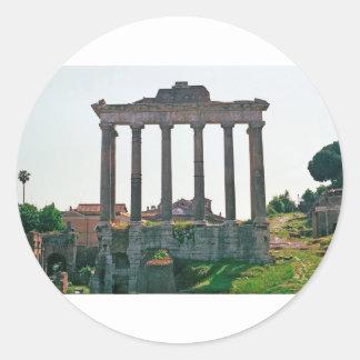 Templo en el foro romano pegatina redonda