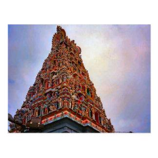Templo hindú, gopuram pintado tarjeta postal