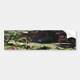 Templo japonés, Byodo-en - las flores de Oahu Pegatina Para Auto