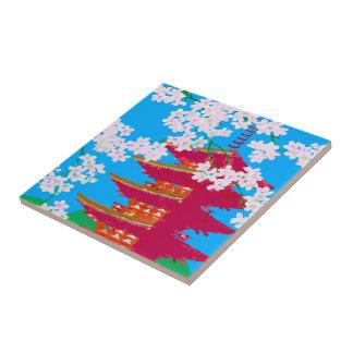 Templo japonés con la flor de cerezo azulejos ceramicos