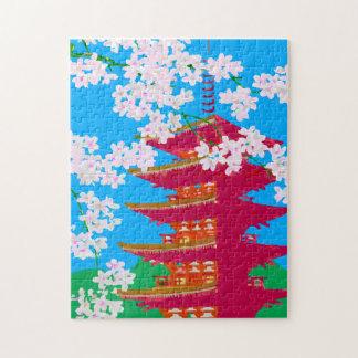 Templo japonés con la flor de cerezo puzzles