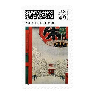 Templo japonés en la nieve, navidad del vintage sello