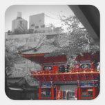 Templo japonés viejo calcomania cuadradas personalizadas
