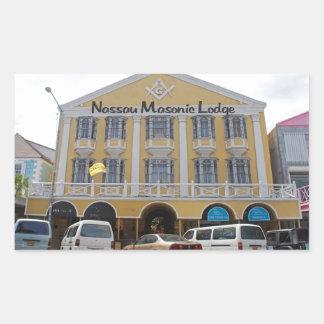 Templo masónico de Nassau Rectangular Pegatina