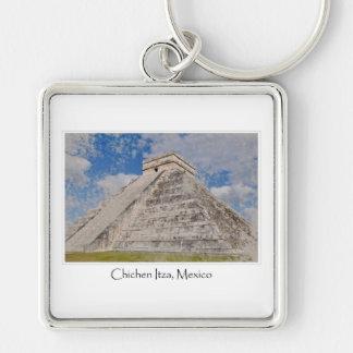 Templo maya de México Chichen Itza Llavero Cuadrado Plateado