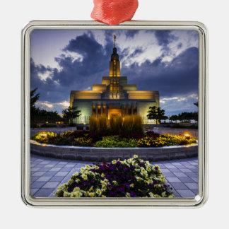Templo mormón de Lds del pañero - Utah Adorno Navideño Cuadrado De Metal