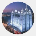 Templo mormón pegatina redonda