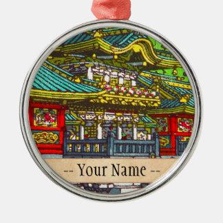 Templo oriental temático japonés clásico del adorno navideño redondo de metal