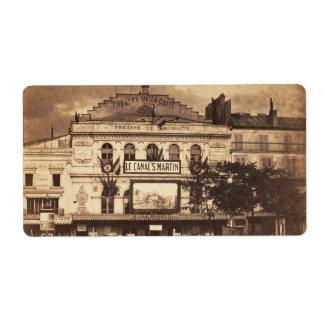 Templo París 1855 de Théâtre de la Gaîté Boulevard Etiqueta De Envío