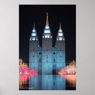 Templo reflejado póster