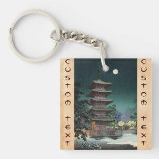 Templo Tsuchiya Koitsu de Asakusa Kinryuzan Llavero Cuadrado Acrílico A Doble Cara