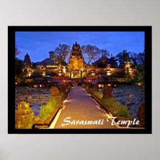 "Templo Ubud Bali de Lotus del café del poster (24"""