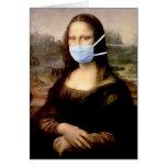 Temporada de gripe Mona Lisa con la máscara Tarjeton