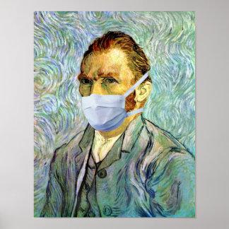 Temporada de gripe Van Gogh con la máscara Posters