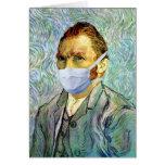 Temporada de gripe Van Gogh con la máscara Tarjeta