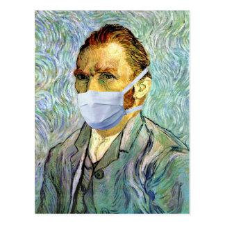 Temporada de gripe Van Gogh con la máscara Postales
