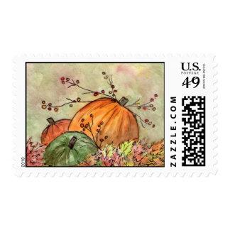Temporada de otoño del remiendo de la calabaza timbres postales
