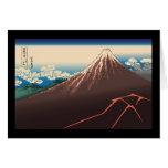 Temporal de lluvia de Hokusai debajo de la cumbre Tarjetón
