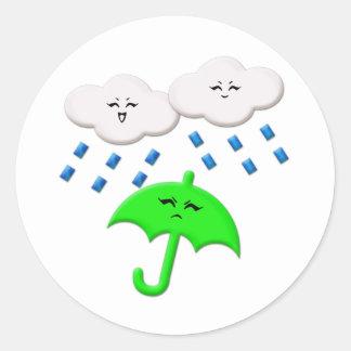 Temporal de lluvia de la guerrilla etiqueta redonda