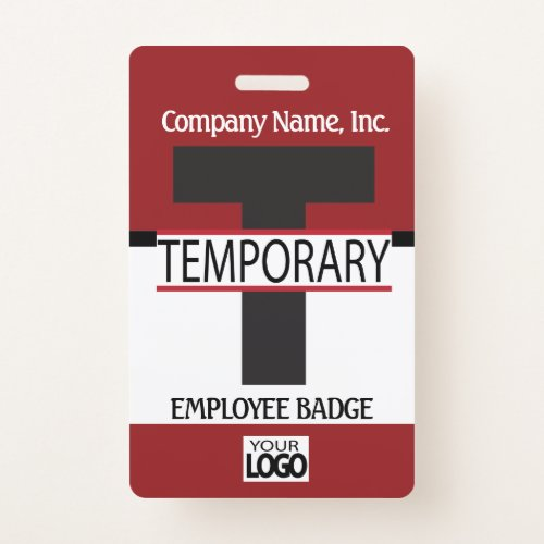 Temporary Employee Badge with your Logo _ Dark Red