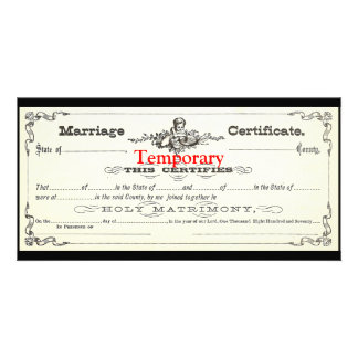 Temporary Marriage Certificate Card