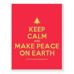 [Xmas tree] keep calm and make peace on earth  Temporary Tattoos
