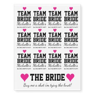 Temporary team bride bachelorette party tattoos