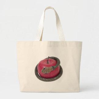 TemptationAppleSnake112311 Large Tote Bag