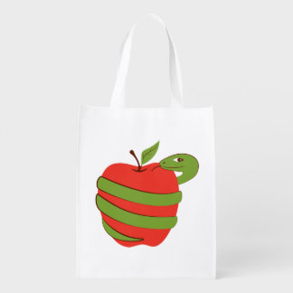 Tempting apple with a snake. grocery bag