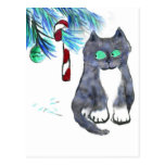 Tempting Candy Cane for Kitty Postcard