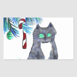 Tempting Candy Cane for Kitty Rectangular Sticker