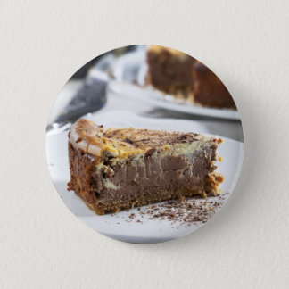 Tempting Chocolate Cheesecake Pinback Button