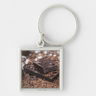 Tempting Chocolate Gifts Silver-Colored Square Keychain