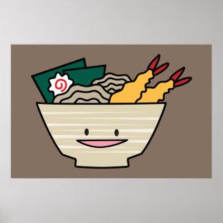 Tempura ramen bowl nori shrimp Japanese noodles Poster