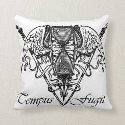 Tempus Fugit in White Throw Pillow