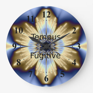 Tempus Fugitive Gold and Blue Flower Clock