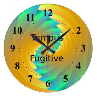 Tempus Fugitive Green and Yellow Spiral Clock