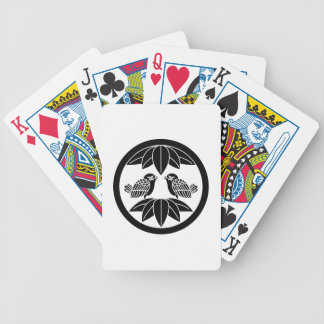 Ten bamboo leaves & facing sparrows in circle bicycle playing cards