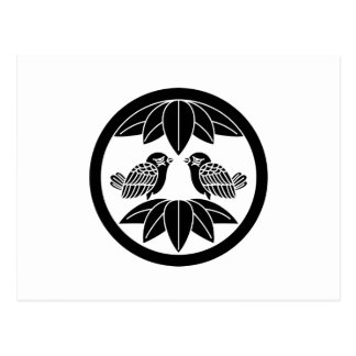 Ten bamboo leaves & facing sparrows in circle postcard