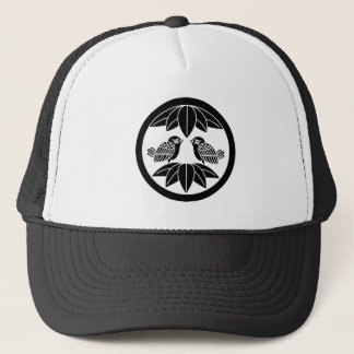 Ten bamboo leaves & facing sparrows in circle trucker hat