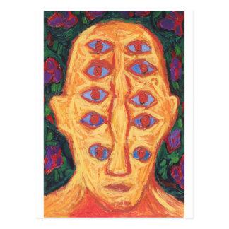 Ten Blue Eyes (odd expressionism surreal portrait) Postcard